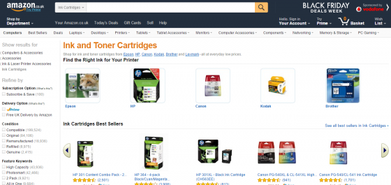 Printer ink and toner cartridges from Amazon