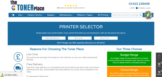Quality, yet cheap printer cartridges online from The Toner Place