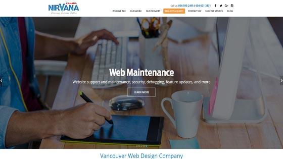 Nirvana Canada ecommerce web design