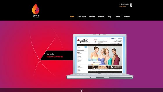 Sizzle web design, UK