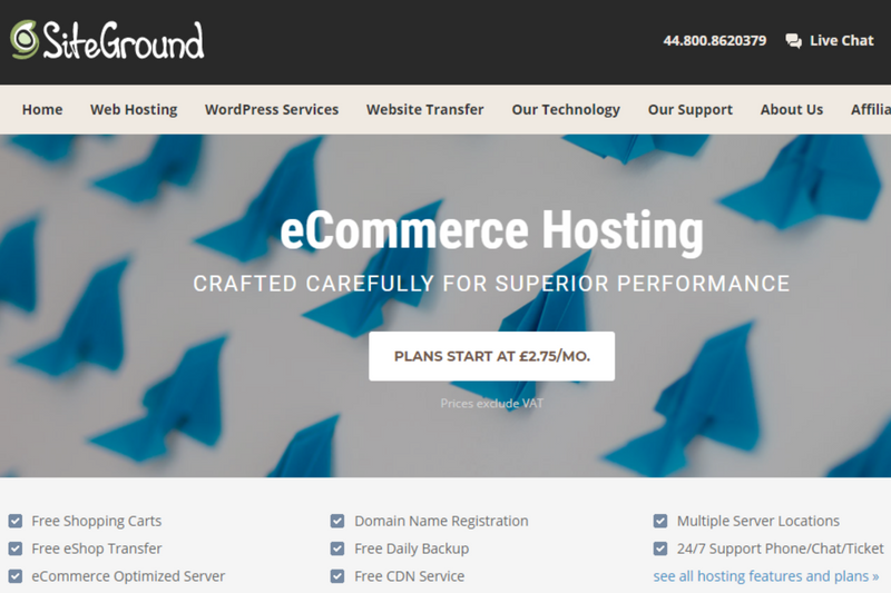 Siteground ecommerce hosting services
